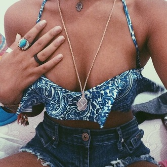 swimwear bikinks bikini top blue swimwear jewels