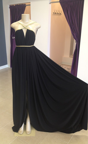 MICHAEL COSTELLO Draped Goddess Dress In Black | DOLLED UP HAIR2TOE