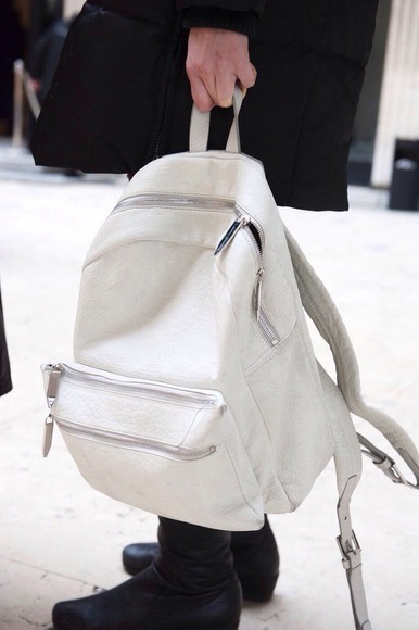 white bag backpack leather bag rucksack nice beautiful bags
