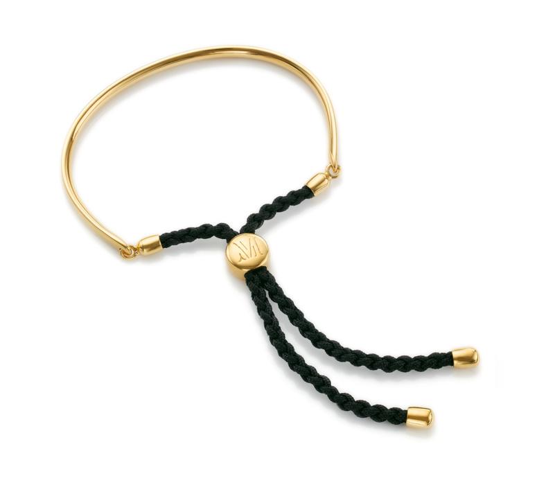 Gold Fiji Friendship Bracelet - Black for Energy   Monica Vinader