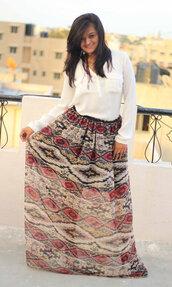 skirt,long skirt,maxi skirt,tribal pattern,tribal skirt,aztec,aztec print skirt,brown dress,summer outfits,aaberi