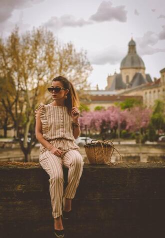 elodie in paris blogger shoes straw bag bag jumpsuit