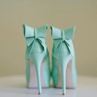 shoes bows high heels tiffany blue
