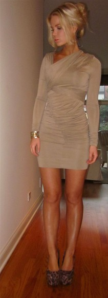beige nude long sleeve dress ruched dress minidress tan