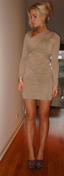long sleeve dress beige nude ruched dress minidress tan