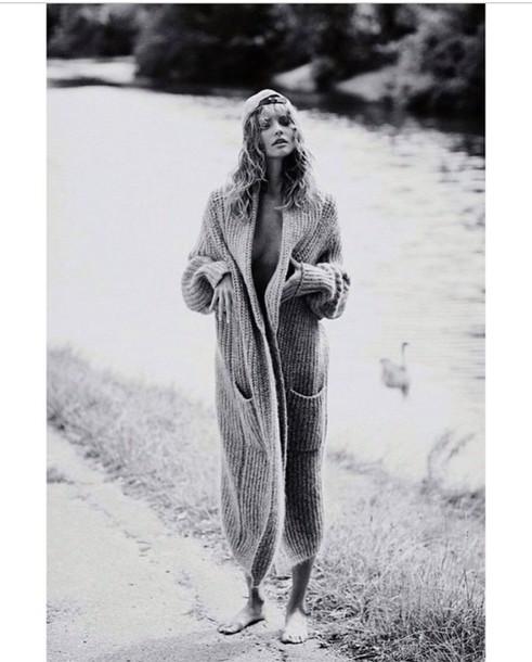 cardigan long length wool comfort