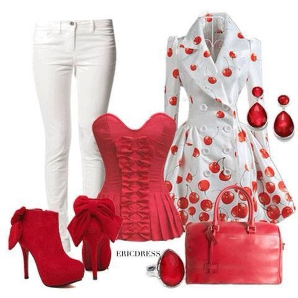 jacket shirt red outfit tube top white booties boots purse bag shoes