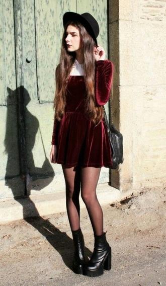 dress velvet red red velvet velvet dress grunge grunge dress white white collar collar tumblr red velvet dress tumblr outfit