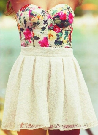 flowers dress flowers cream skirt lace dress lace skirt flower top cream dress