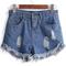 Blue fringe ripped denim shorts - sheinside.com