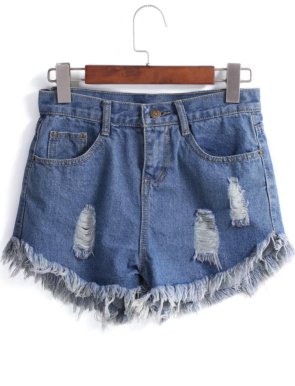 Fringe Ripped Denim Shorts - Sheinside.com