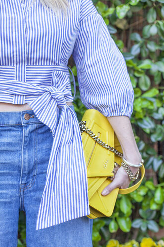 a lacey perspective - a fashion blog based in our nation's capital. blogger top pants shoes bag sunglasses yellow bag striped shirt spring outfits