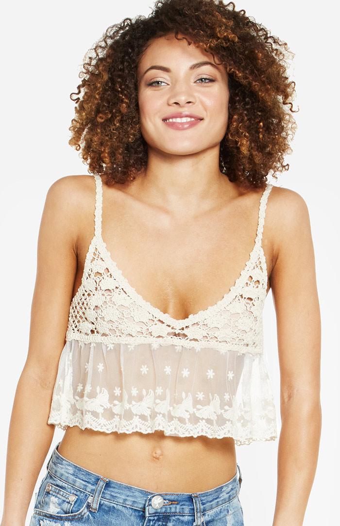 RAGA Crochet Lace Babydoll Crop Top