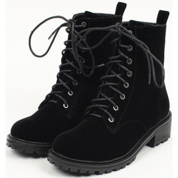 Shoes: combat boots, velvet, black, boots - Wheretoget