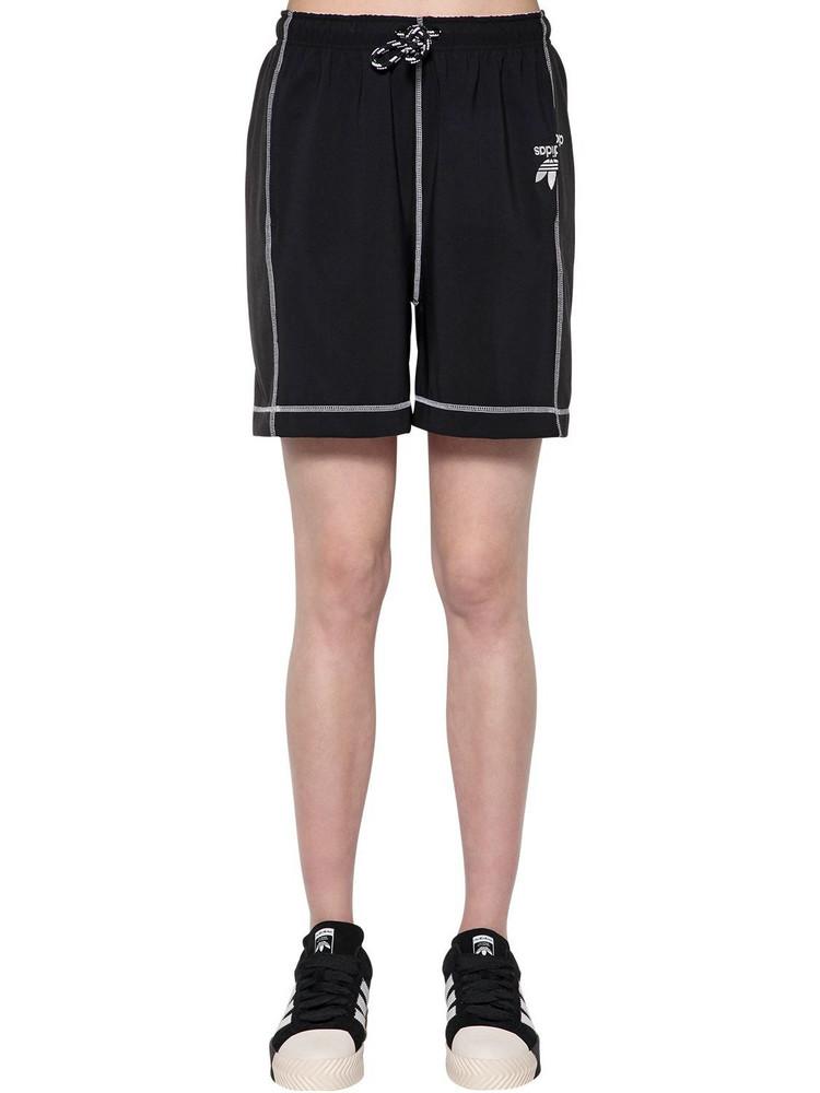 ADIDAS ORIGINALS BY ALEXANDER WANG Tech Satin & Cotton Shorts in black