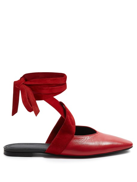 JW Anderson ballet backless flats ballet flats leather red shoes