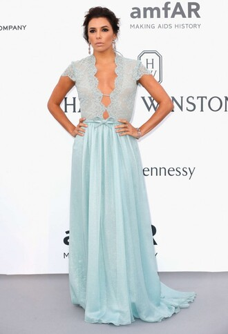 dress gown eva longoria plunge v neck lace cannes