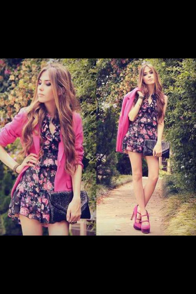 pink jacket pink blazer pink dress floral pink shoes clutch black clutch flower dress blazer