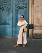 top,shirt,pants,wide-leg pants,shoes,bag,sunglasses
