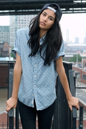 shirt clothes button up tomboy polka dots baby blue collar blouse blue skater dress hat cap