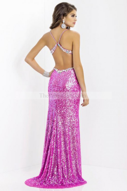 Shiny V Neck Open Back Sexy Style Prom Dress - 2014 Prom Collection - Shop Prom