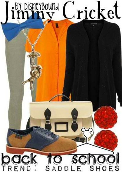 shoes shirt orange shirt outfit grey trousers saddle shoes jiminy cricket blue bow black cardigan