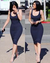 shoes,kylie jenner,dress,kardashians,kendall and kylie jenner,kylie jenner jewelry,kylie jenner dress,kendall + kylie label,blue,navy,navy dress,blue dress,watch,hair,ring,curvy,make-up,heels,high heels,silver,sexy,pretty,tight,midi dress,summer,summer dress,summer outfits,spring,spring outfits,bodycon dress