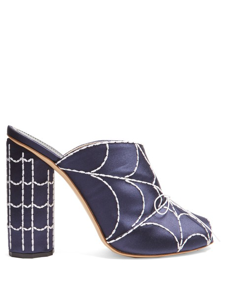 Marco De Vincenzo embroidered mules satin navy shoes