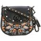 Coach embroidered shoulder bag, women's, black
