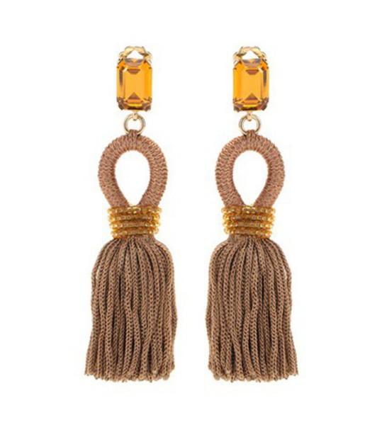 Oscar de la Renta Embellished Tassel Clip-on Earrings in beige / beige