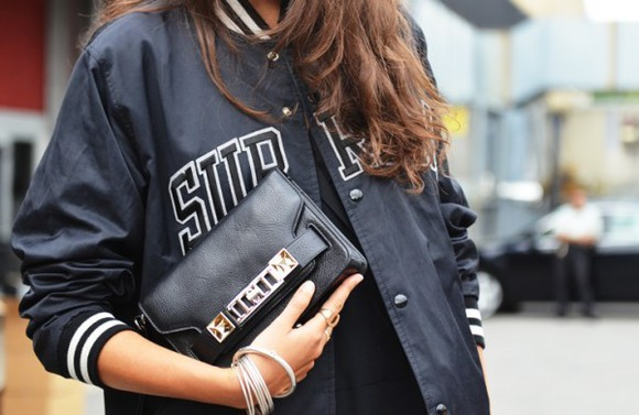 varsity jacket black leather white stripes tumblr pretty fashion letterman buttoned white
