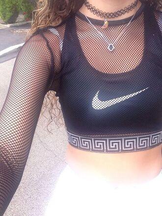 top health goth sports bra sportswear mesh top long sleeves crop tops black crop top nike top nike bra nike choker necklace black choker