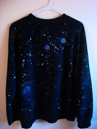sweater galaxy print black universe planets stars stardust science galaxy shirt space shirt
