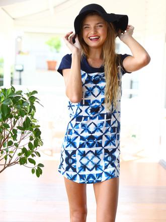 dusk till dawn shift contrast dress blue dress kaleidoscope mura boutique dress