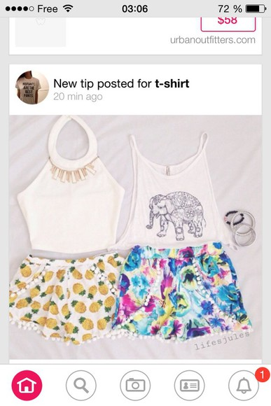 floral shorts fashion vintage pineapple print elephants