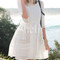 White with lace flare dress -shein(sheinside)