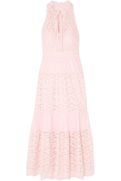 Temperley London dress lace cotton pink