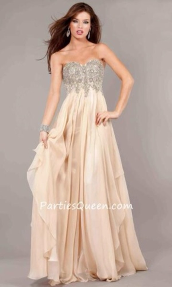 dress elegant long dress long prom dress flowy dress prom dress beige cream prom dress sweetheart neckline sequin prom dress