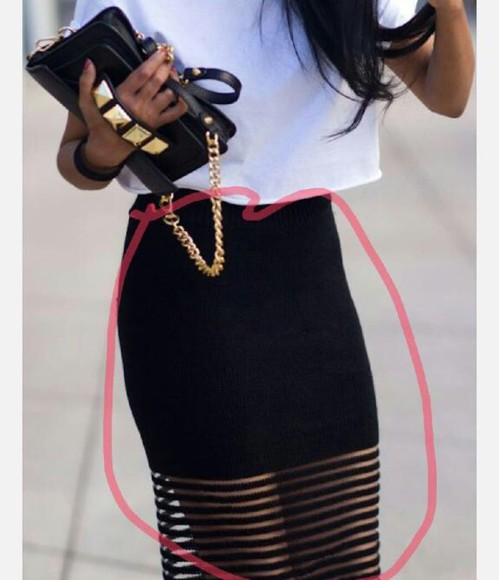 black chic skirt mesh sheer stripes