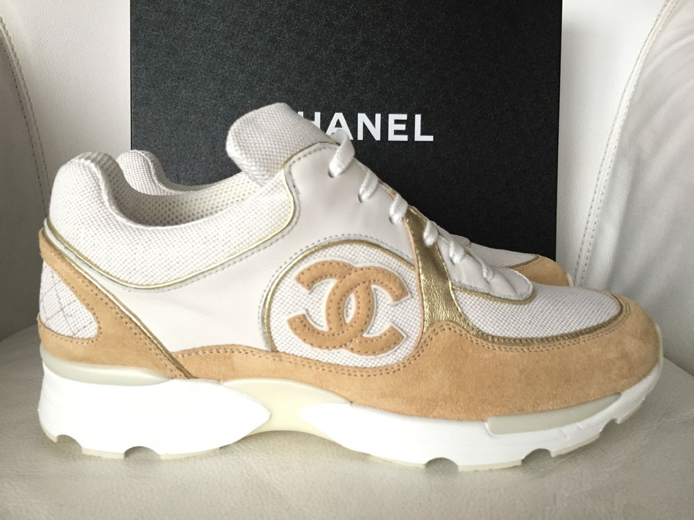 2015 CHANEL CC WHITE BEIGE GOLD SNEAKERS TENNIS SHOES ... a266c9faf