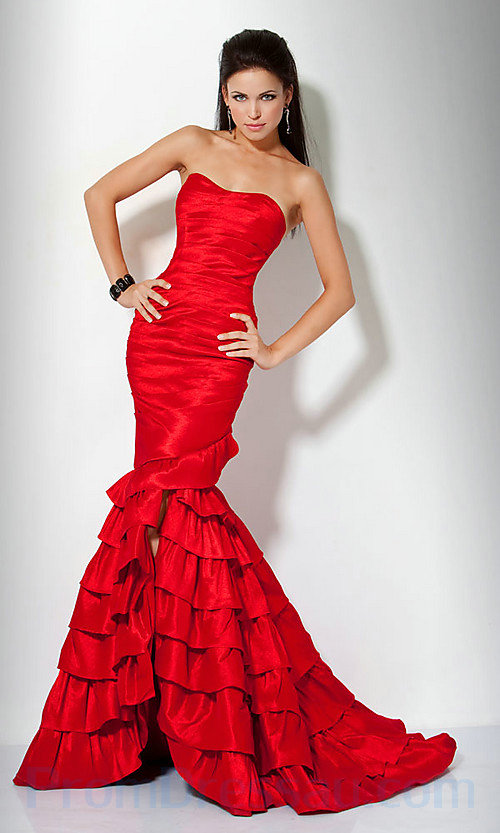 Buy Tailor-Made Strapless Mermaid  Ruffles Bottom Fitted Perfect Red Evening Dress With Slits!
