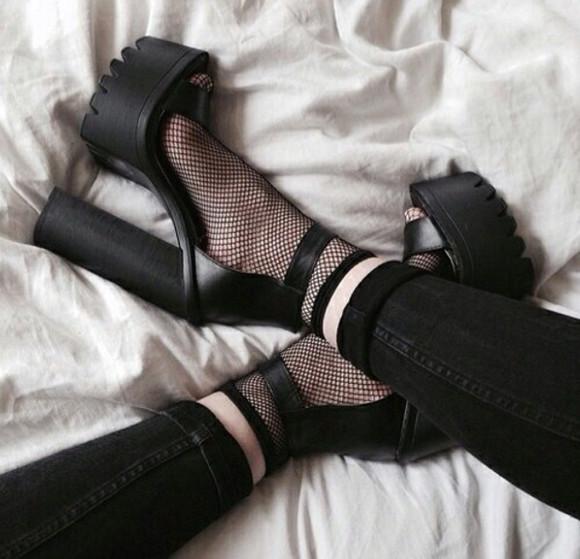 pumps shoes black socks pastel goth blouse