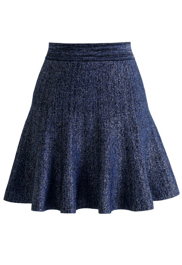 skirt chicwish glitter knitted skater skirt navy