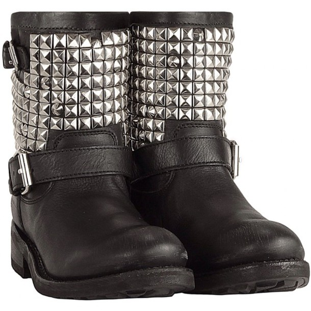 shoes black boots silver studs studs black