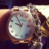 jewels,bracelets,marc jacobs,god,rose gold,white,watch,diamonds