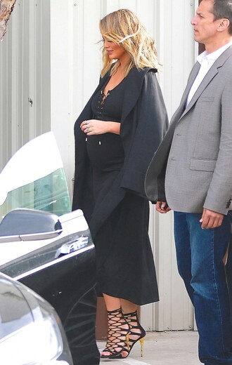 dress all black everything bodycon dress midi dress chrissy teigen sandals coat maternity dress shoes lace up