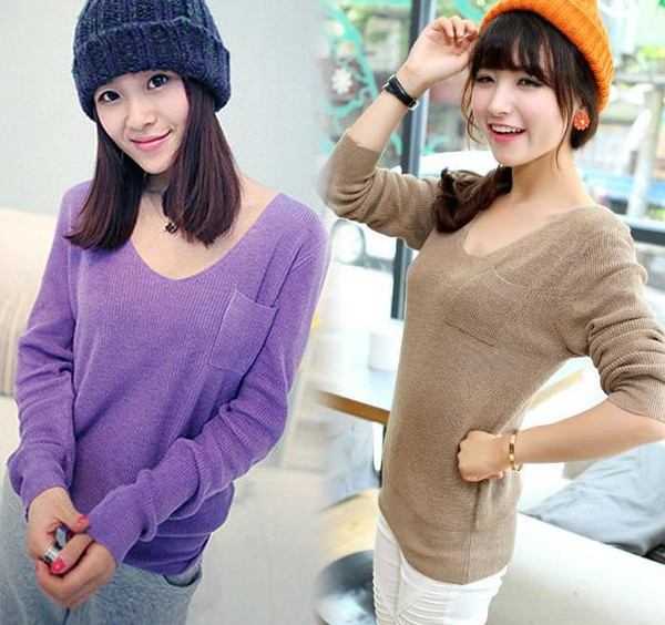 sweater clothes Casual Loose Pullover V Neck Pockets Knitted pullover