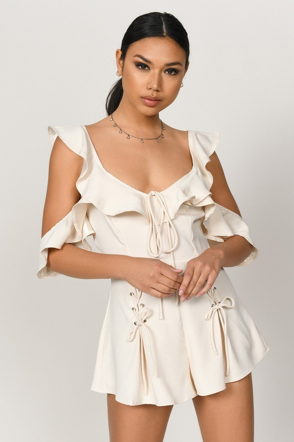 Sloan Ivory Tiered Ruffle Lace Up Romper