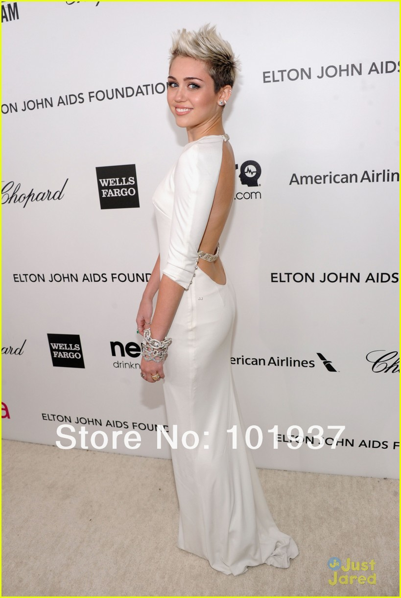 Miley Cyrus Celebrity Dresses At Oscar Sheath Scoop White Floor Length Open Back Half Sleeves Babyonline Red Carpet Dresses-in Celebrity-Inspired Dresses from Apparel & Accessories on Aliexpress.com