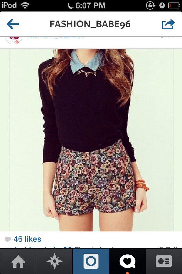 shorts floral sweater